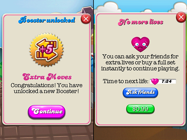 Although glossier than your average button, Candy Crush Saga's buttons still look like, well, buttons