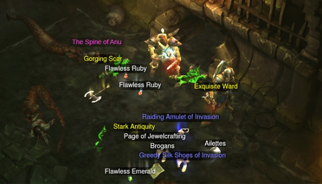 In Diablo 3 the player is rewarded with a carefully measured dose of randomly generated items.