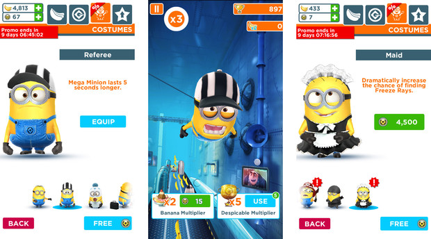 Minion Rush offers exclusive minion skins for a limited time only.