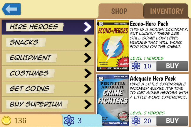 Middle Manager of Justice is very playful in its approach to buying superheroes.