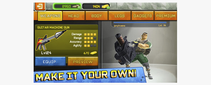 Zynga's Respawnables encourages player to purchase premium weapons that players can only get with hard currency. These premium weapons eliminate all the need to progress and unlock new weapons, thus killing the core loop.