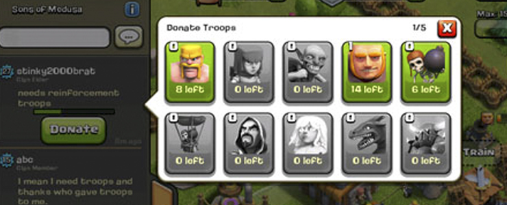 Donation feature in Clash of Clans is one of the most powerful social mechanics I've seen.