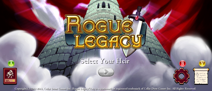 Rogue Legacy's title screen is both clean and clear