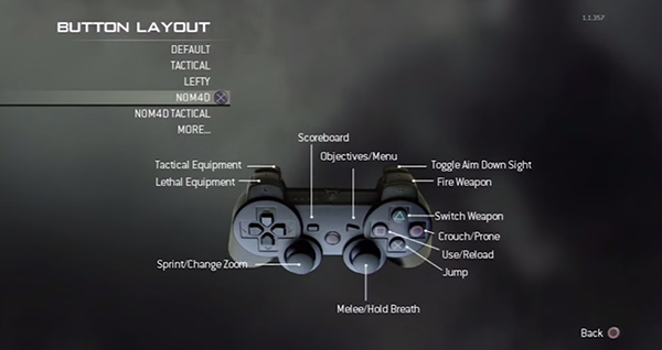 The Nomad button layout