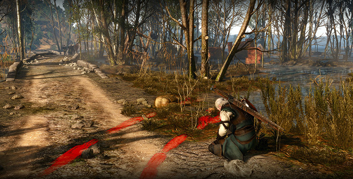 Using your Witcher's senses, you can see trails and loots surrounded by a glow.
