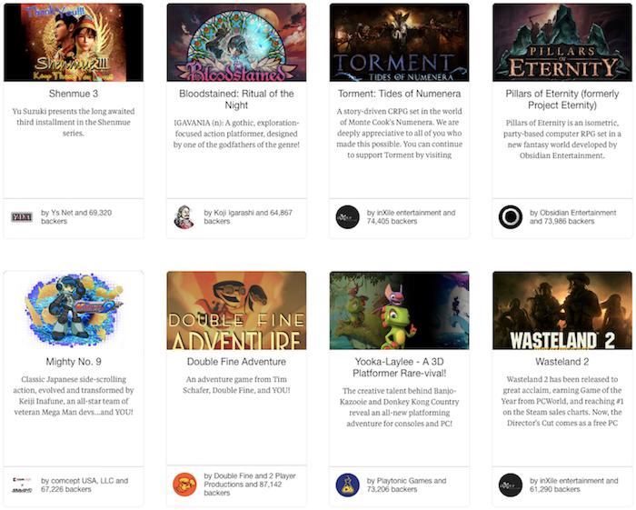 Most Funded Games on Kickstarter