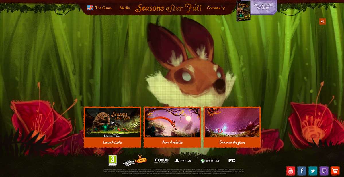 Seasons after fall landing page screenshot