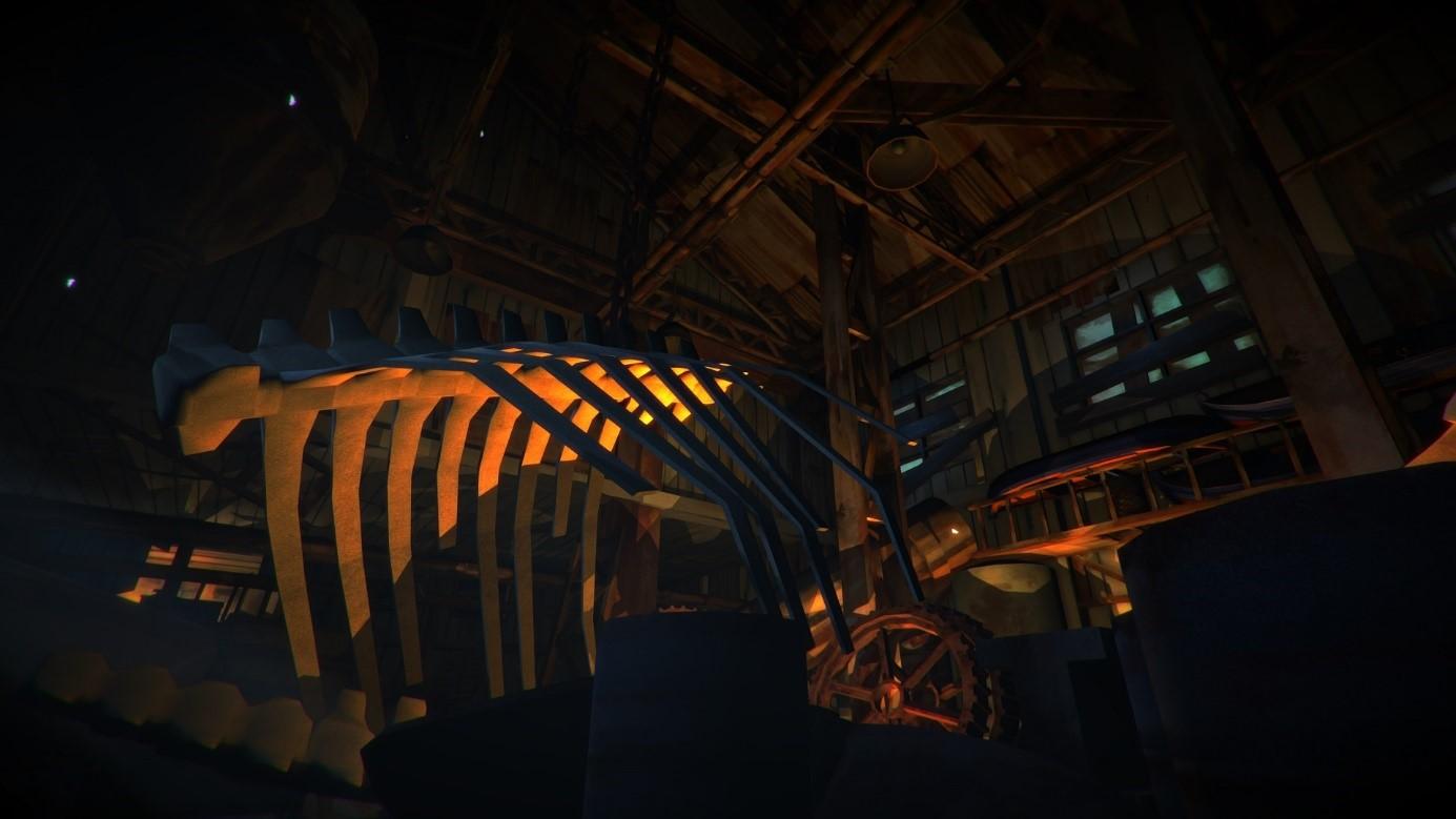 The long dark screenshot of a warehouse