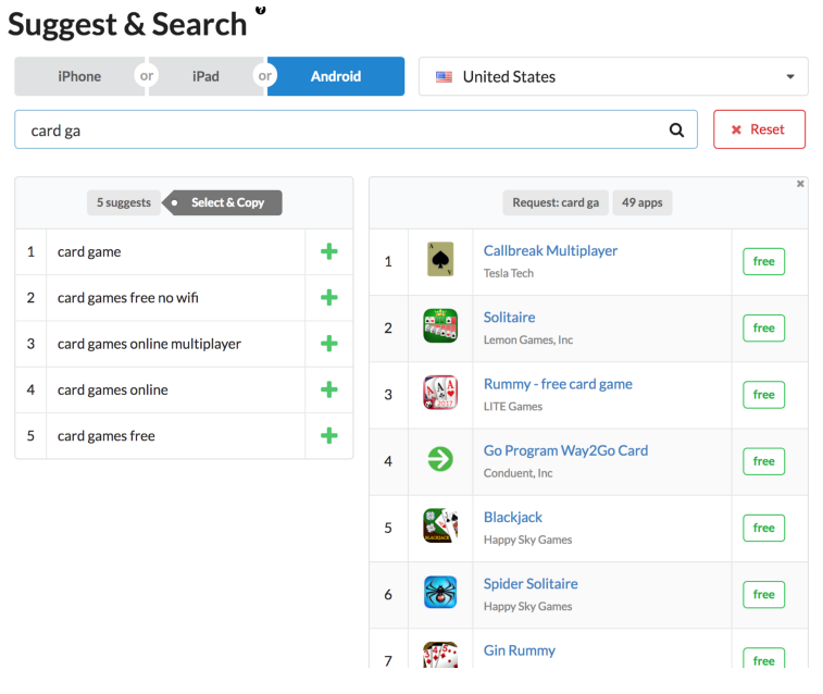 Image 2. Choosing search requests based on Google Play suggests via Suggest & Search tool
